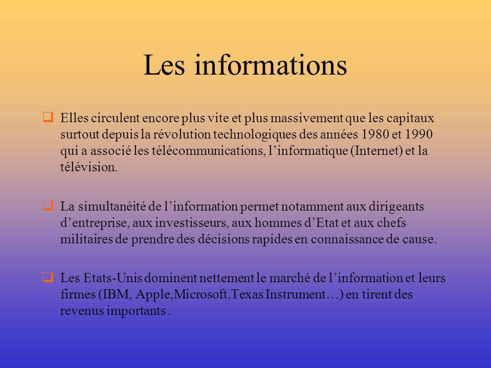 Les informations