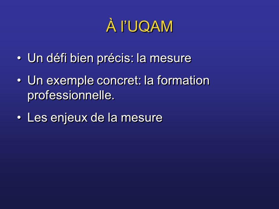 À l'UQAM Un défi bien précis: la mesure