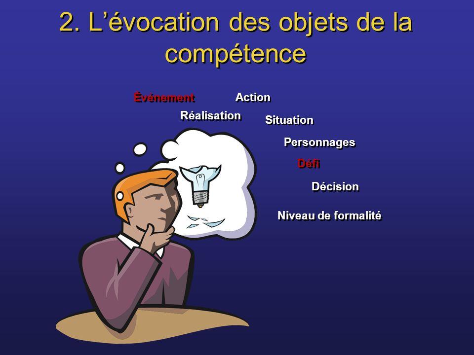 2. L'évocation des objets de la compétence