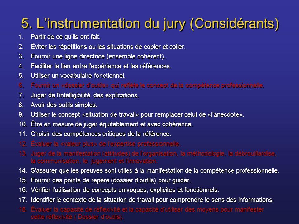 5. L'instrumentation du jury (Considérants)