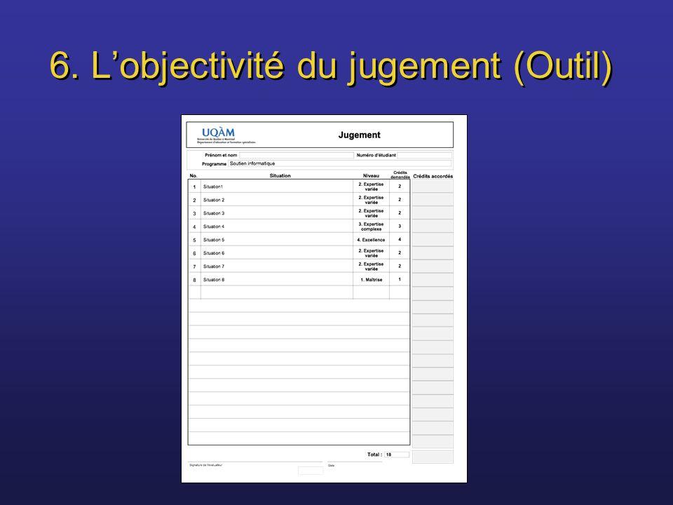 6. L'objectivité du jugement (Outil)