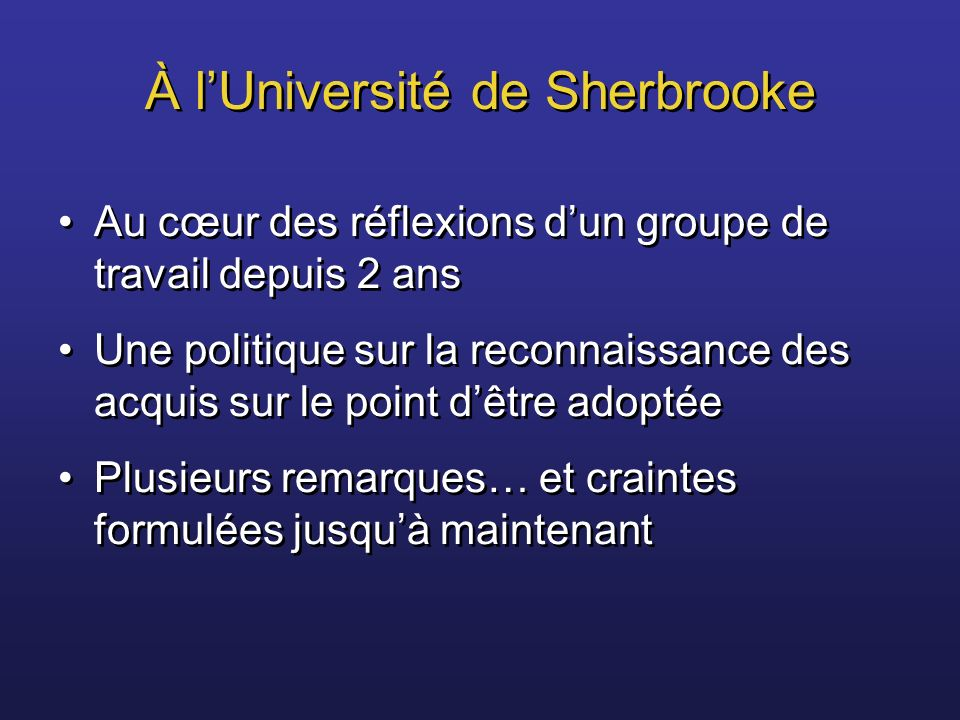 À l'Université de Sherbrooke