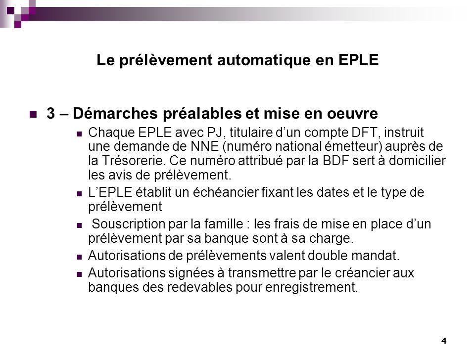 Le prélèvement automatique en EPLE