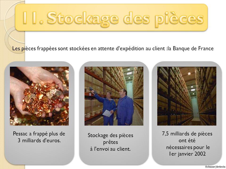 11. Stockage des pièces Les pièces frappées sont stockées en attente d expédition au client :la Banque de France.