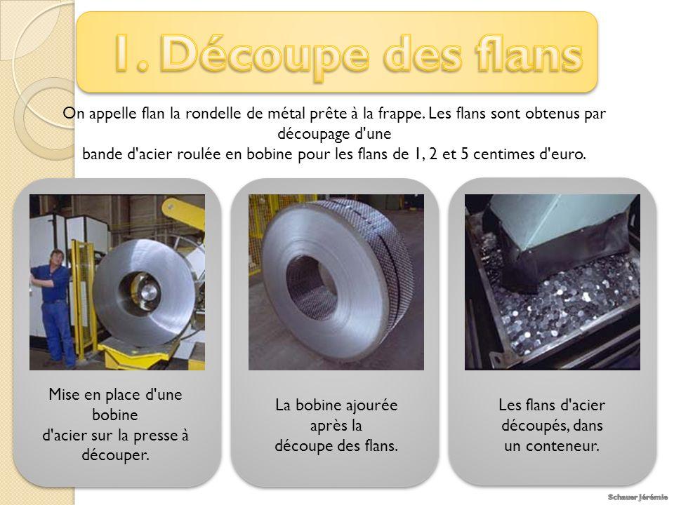 1. Découpe des flans On appelle flan la rondelle de métal prête à la frappe. Les flans sont obtenus par découpage d une.