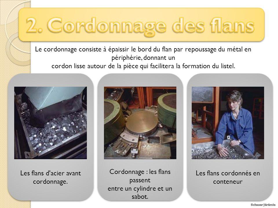2. Cordonnage des flans Le cordonnage consiste à épaissir le bord du flan par repoussage du métal en périphérie, donnant un.