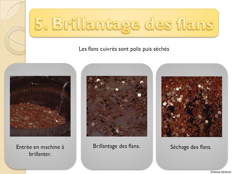 5. Brillantage des flans Les flans cuivrés sont polis puis séchés