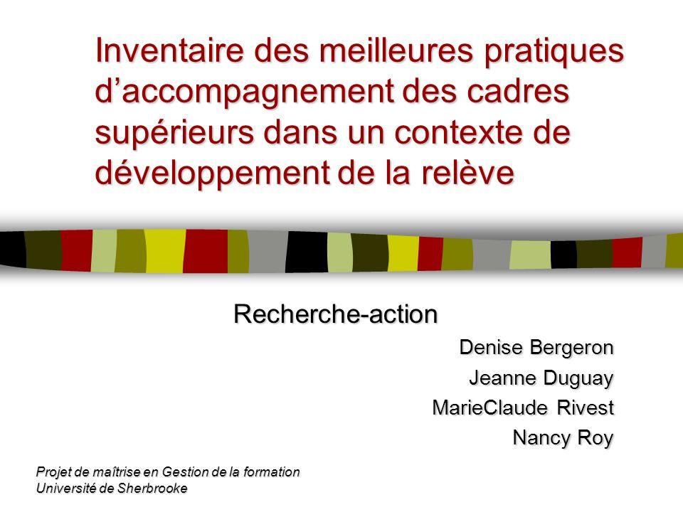 Inventaire des meilleures pratiques d'accompagnement des cadres supérieurs dans un contexte de développement de la relève