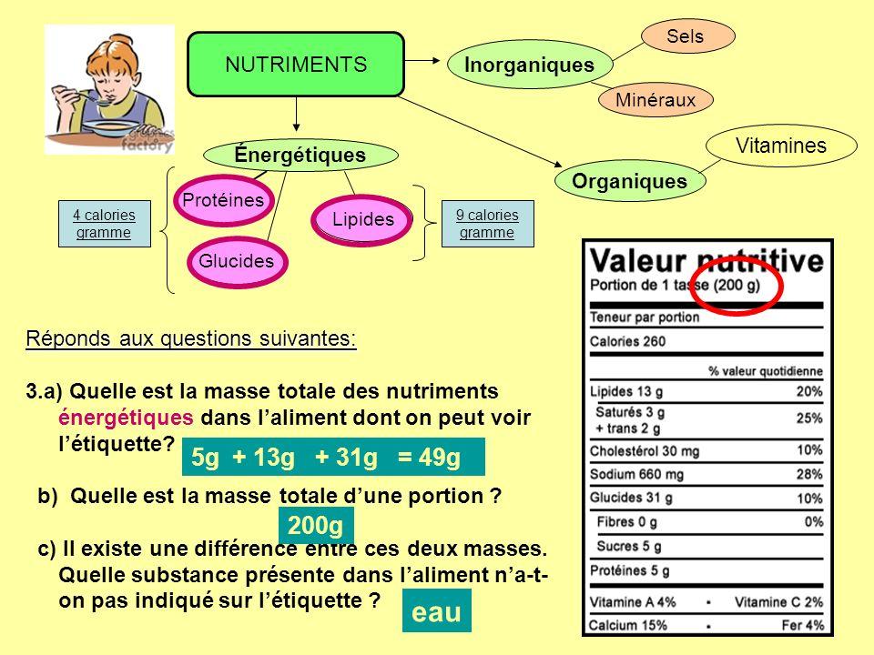 eau 5g + 13g + 31g = 49g 200g NUTRIMENTS