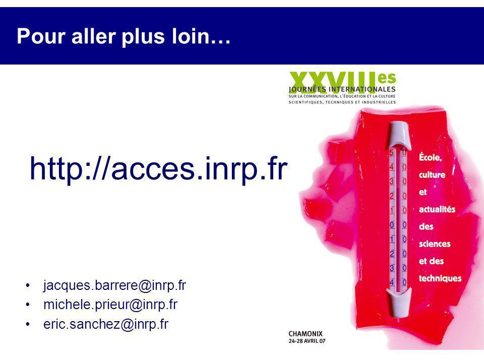 http://acces.inrp.fr Pour aller plus loin… jacques.barrere@inrp.fr