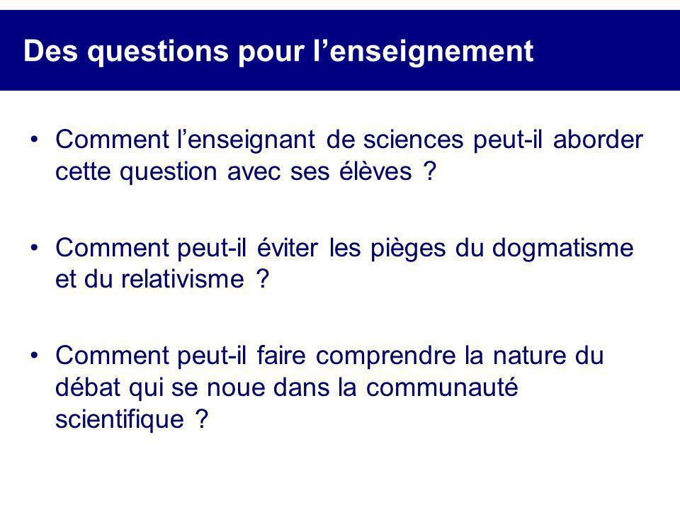 Des questions pour l'enseignement