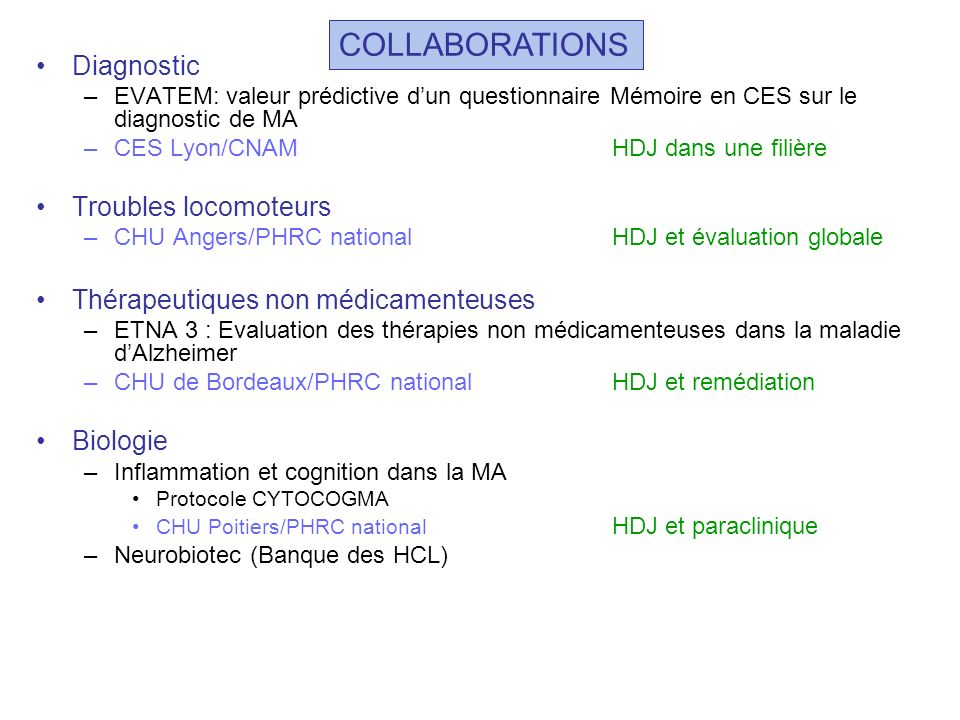 COLLABORATIONS Diagnostic Troubles locomoteurs
