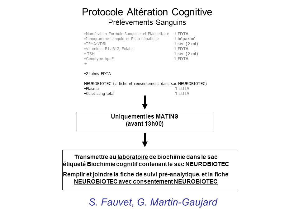Protocole Altération Cognitive Prélèvements Sanguins