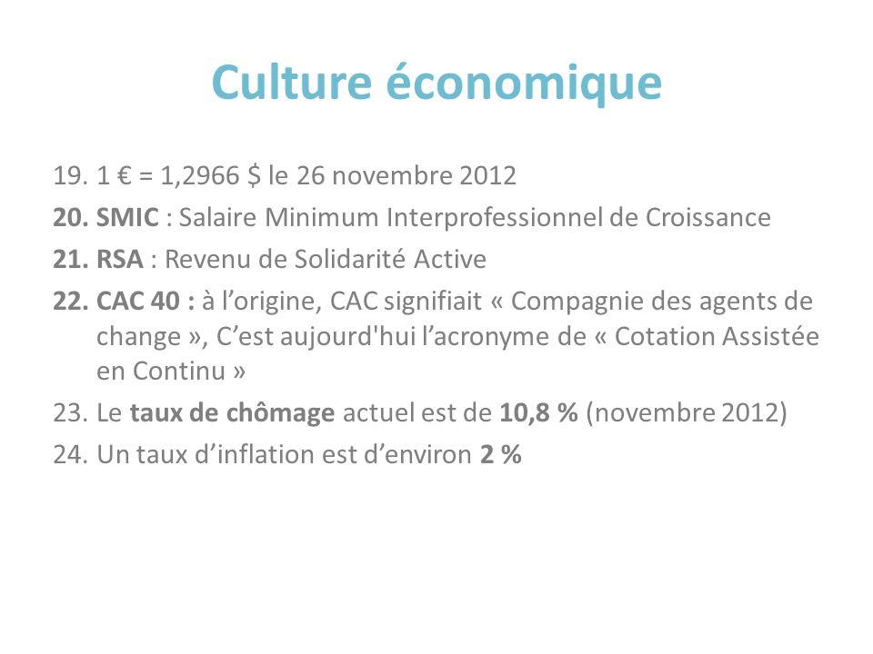 Culture économique 1 € = 1,2966 $ le 26 novembre 2012