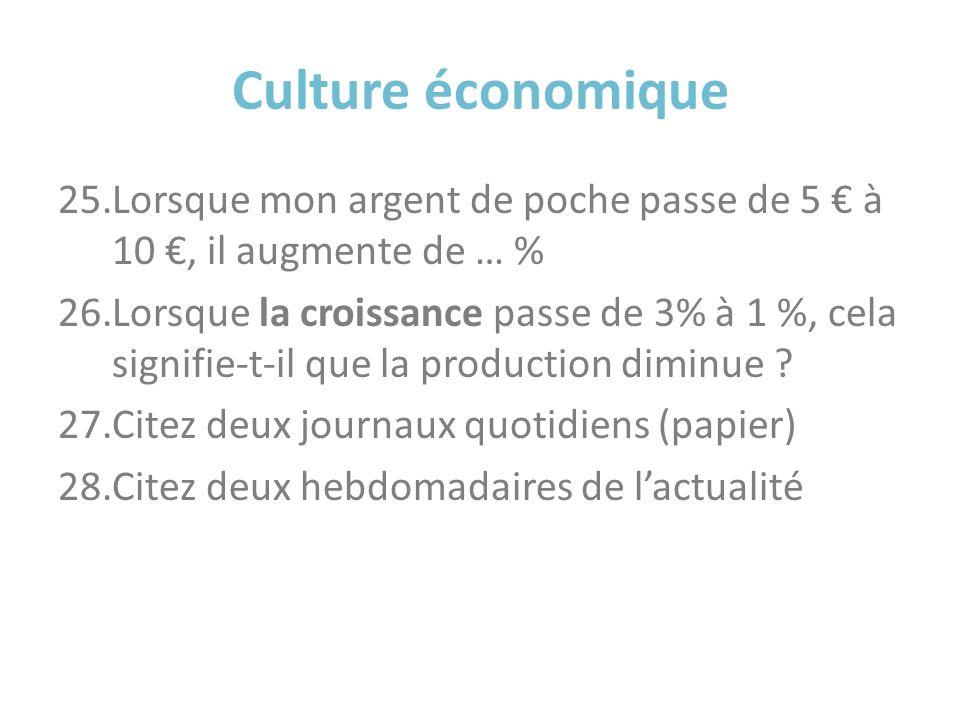 Culture économique Lorsque mon argent de poche passe de 5 € à 10 €, il augmente de … %