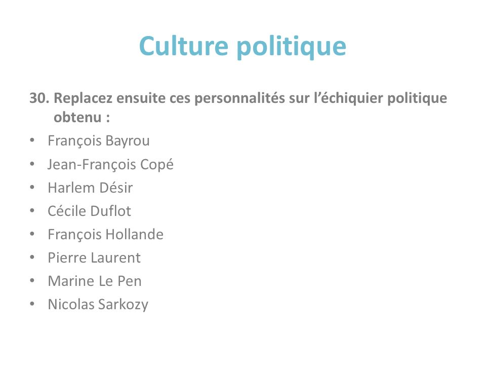 Culture politique Replacez ensuite ces personnalités sur l'échiquier politique obtenu : François Bayrou.