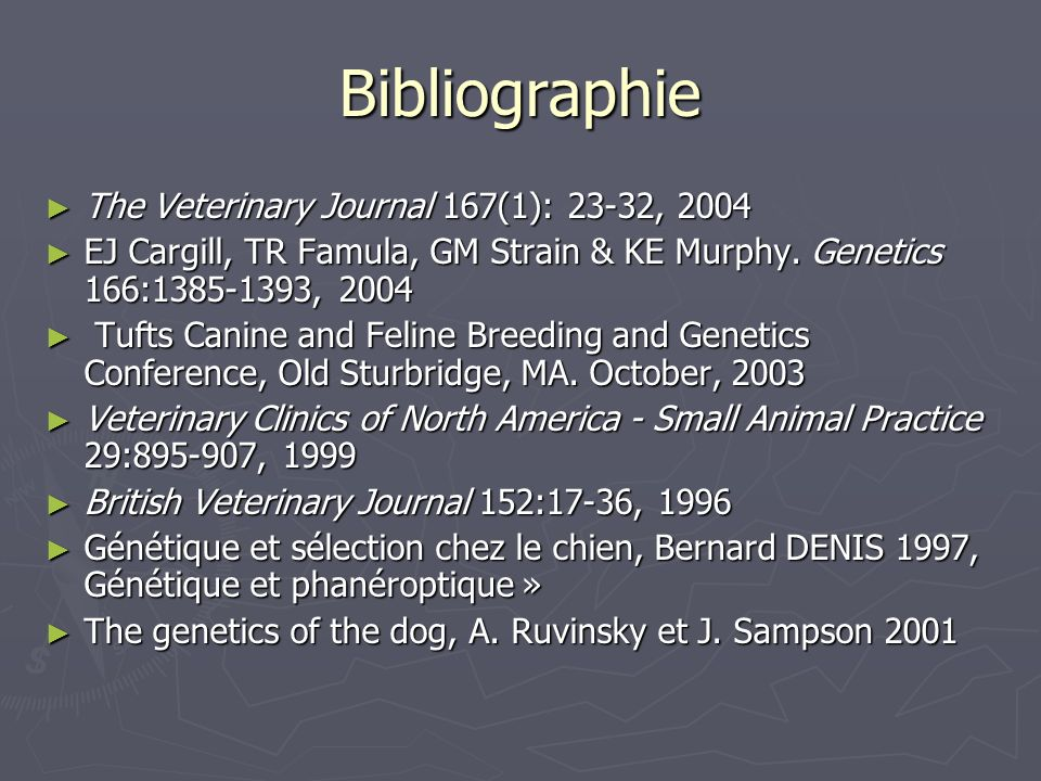 Bibliographie The Veterinary Journal 167(1): 23-32, 2004