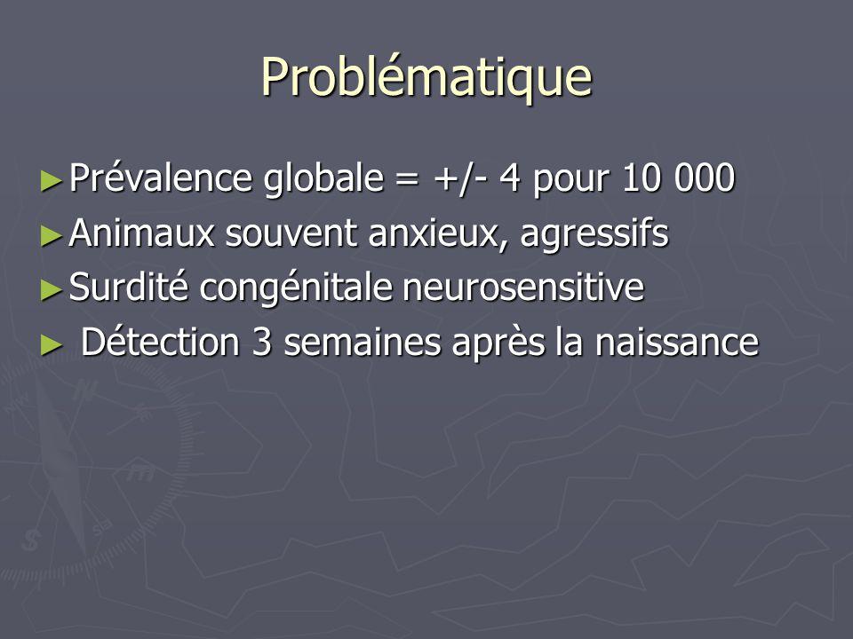 Problématique Prévalence globale = +/- 4 pour 10 000