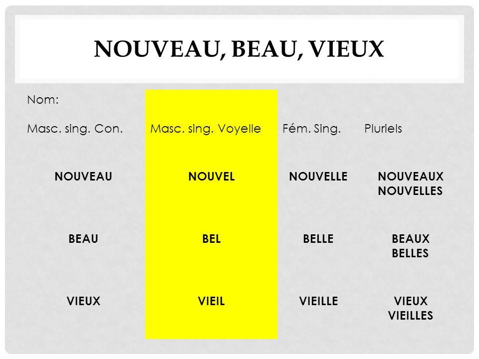 NouVeau, Beau, Vieux Nom: Masc. sing. Con. Masc. sing. Voyelle