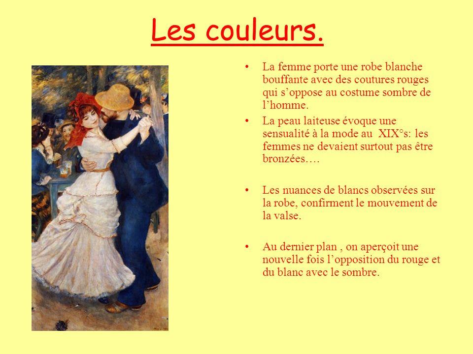 Les couleurs. La femme porte une robe blanche bouffante avec des coutures rouges qui s'oppose au costume sombre de l'homme.