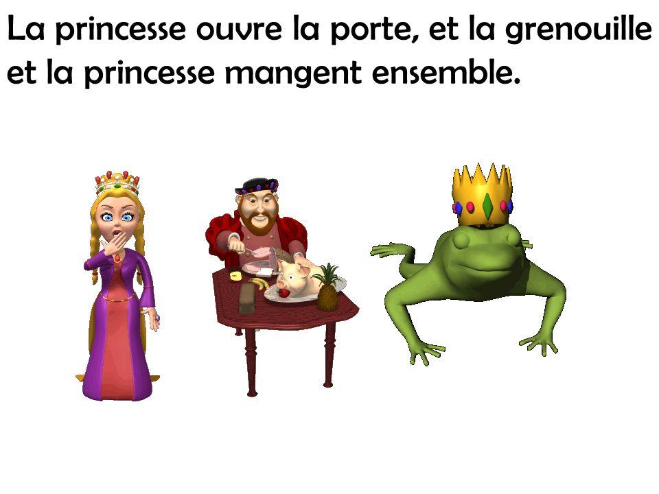 La princesse ouvre la porte, et la grenouille et la princesse mangent ensemble.