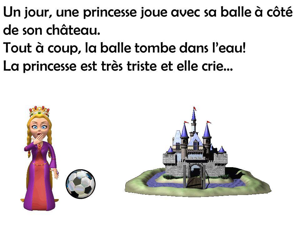 Un jour, une princesse joue avec sa balle à côté de son château.