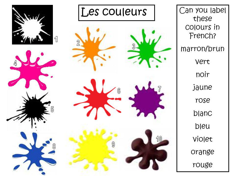Can you label these colours in French