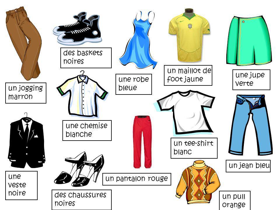 des baskets noires un maillot de. foot jaune. une jupe verte. une robe. bleue. un jogging. marron.