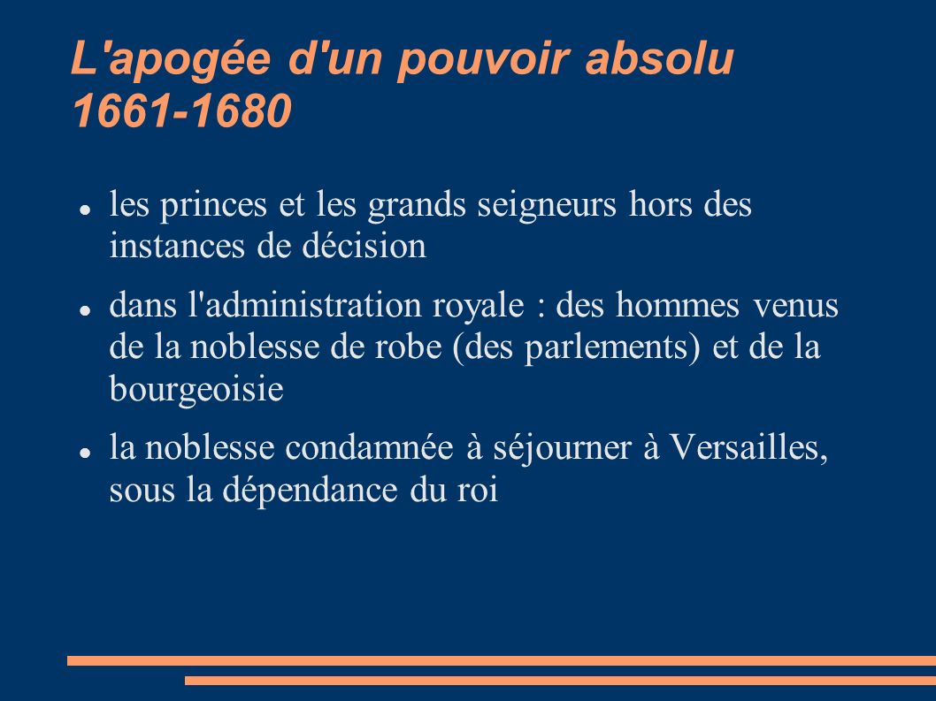 L apogée d un pouvoir absolu 1661-1680