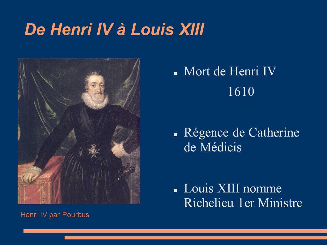 De Henri IV à Louis XIII Mort de Henri IV 1610