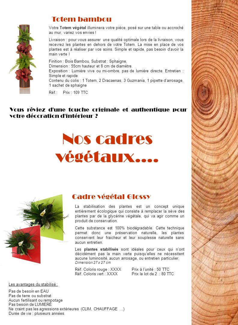 Nos cadres végétaux…. Totem bambou Cadre végétal Glossy