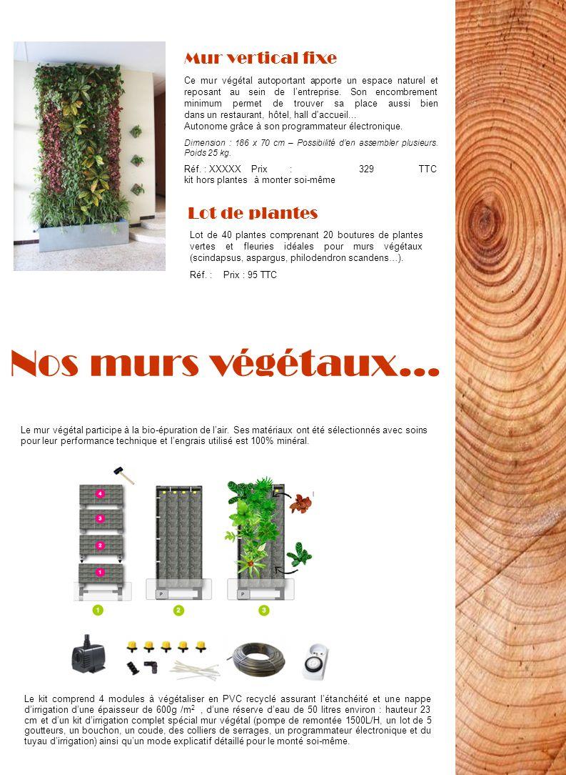 Nos murs végétaux… Mur vertical fixe Lot de plantes
