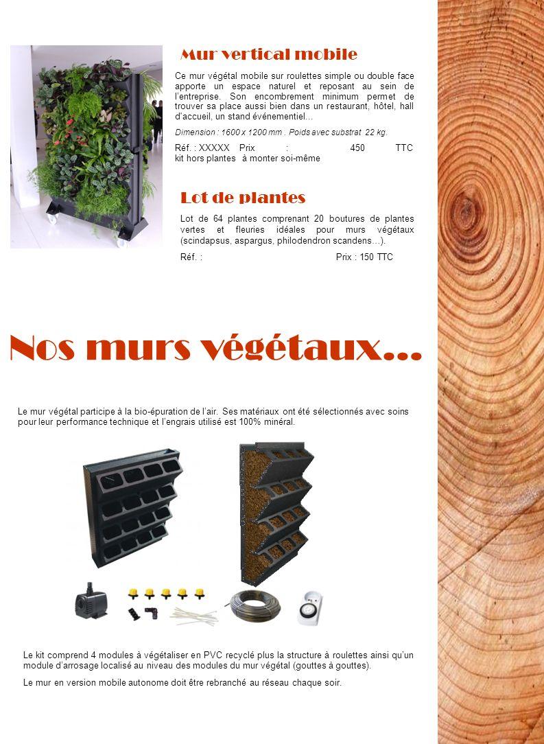 Nos murs végétaux… Mur vertical mobile Lot de plantes