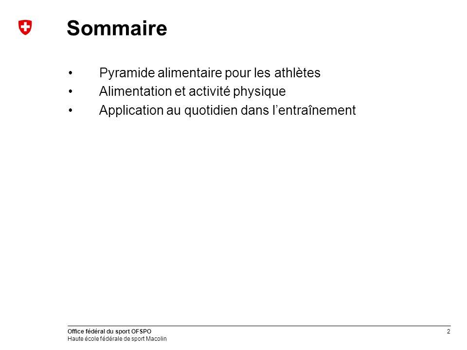 Sommaire Pyramide alimentaire pour les athlètes