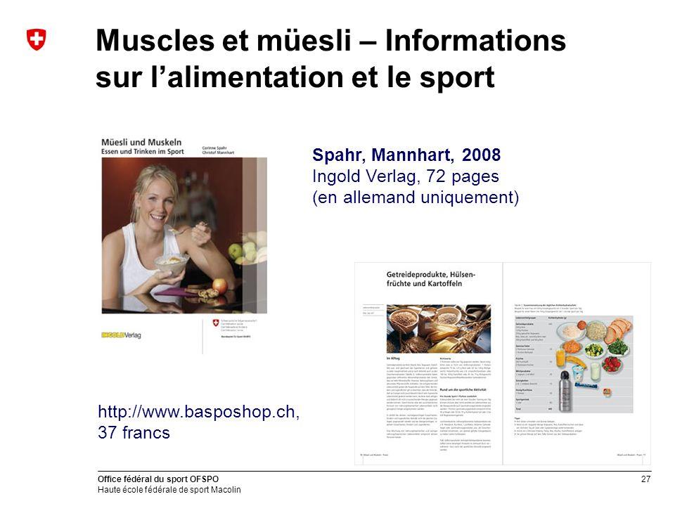 Muscles et müesli – Informations sur l'alimentation et le sport