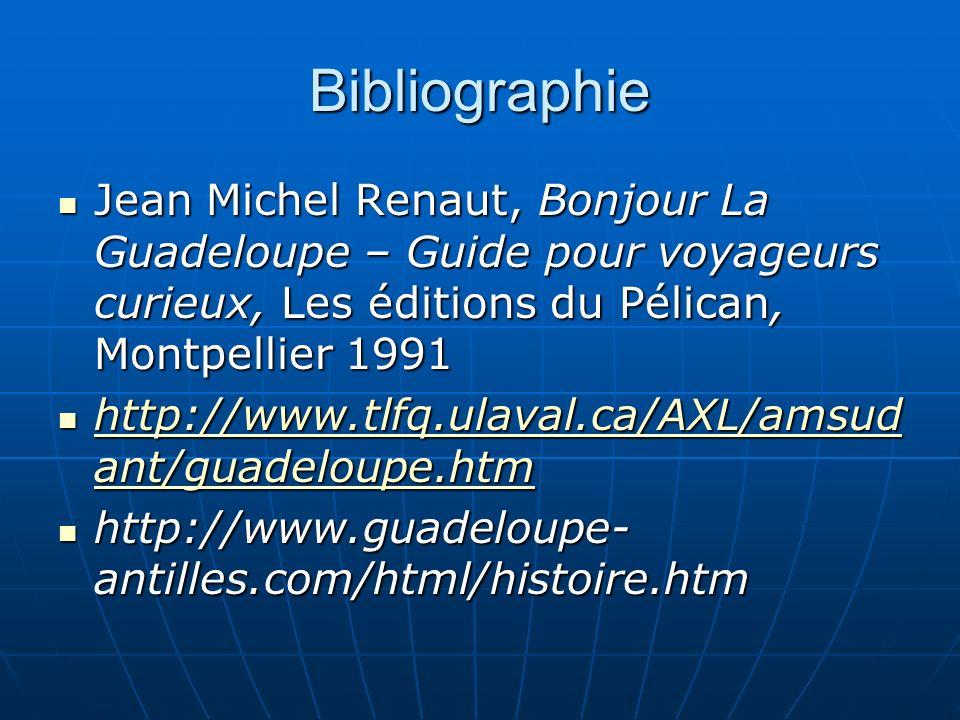 Bibliographie Jean Michel Renaut, Bonjour La Guadeloupe – Guide pour voyageurs curieux, Les éditions du Pélican, Montpellier 1991.