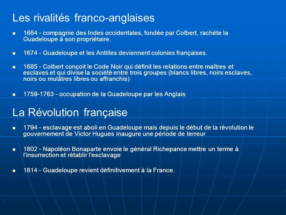 Les rivalités franco-anglaises