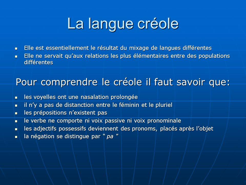 Pour comprendre le créole il faut savoir que: