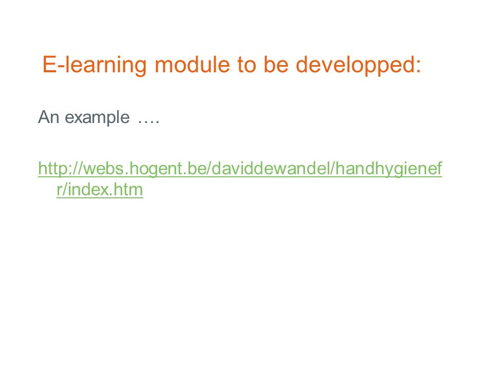 E-learning module to be developped: