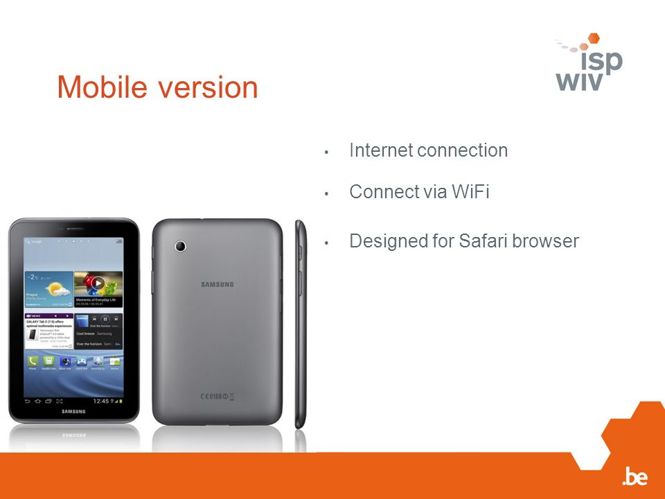 Mobile version Internet connection Connect via WiFi