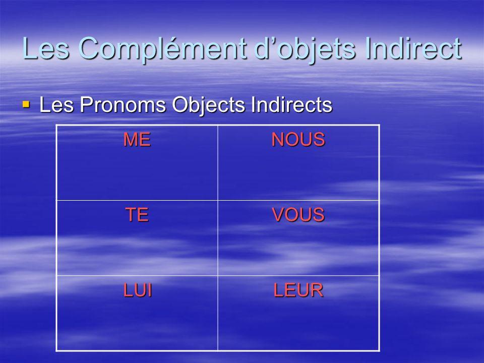 Les Complément d'objets Indirect