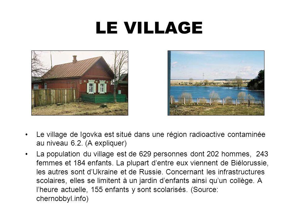 LE VILLAGE Le village de Igovka est situé dans une région radioactive contaminée au niveau 6.2. (A expliquer)