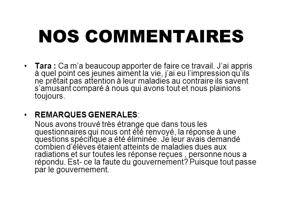 NOS COMMENTAIRES
