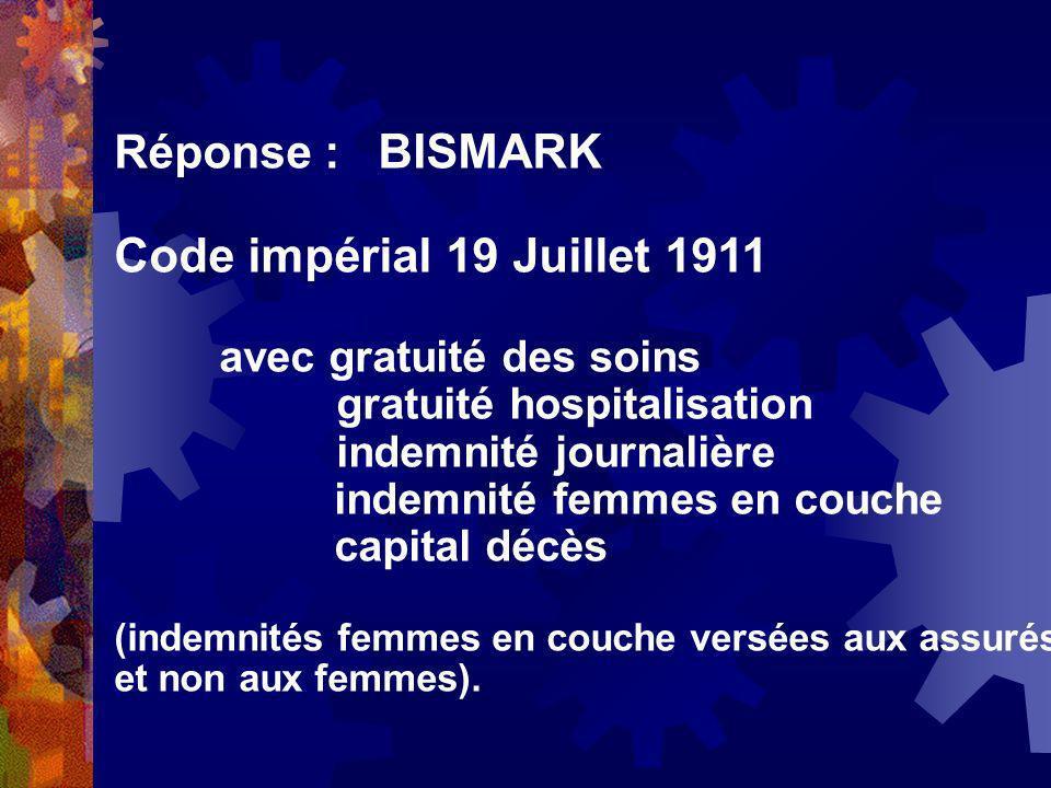 Code impérial 19 Juillet 1911 Réponse : BISMARK