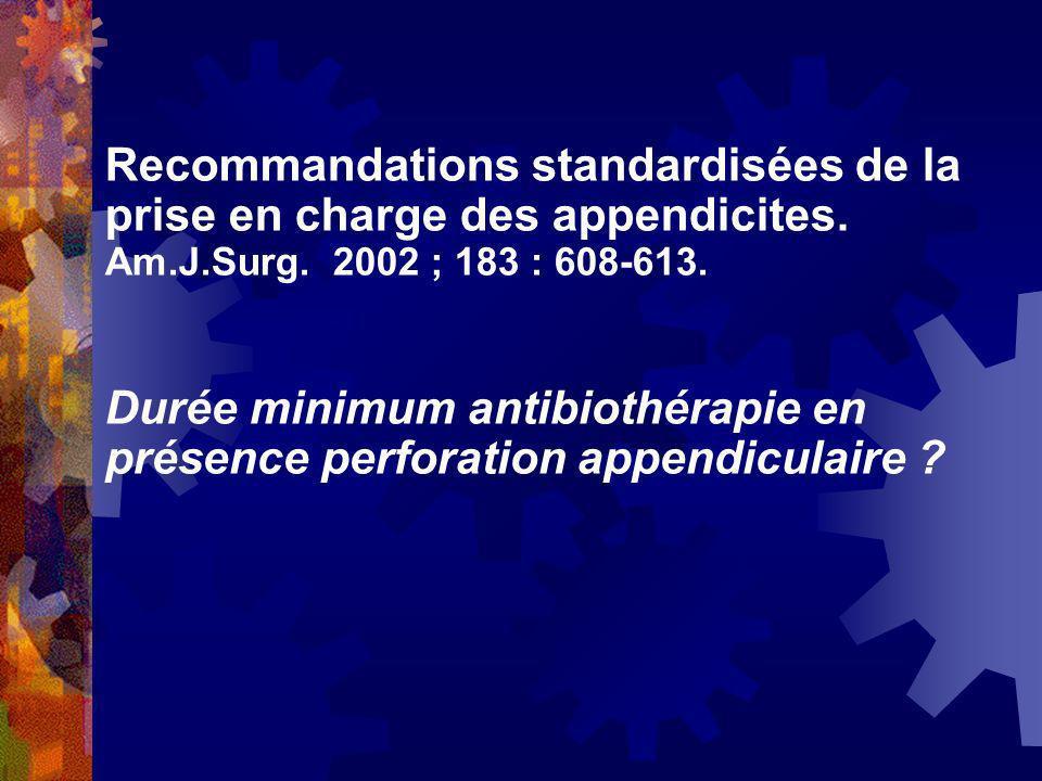 Recommandations standardisées de la prise en charge des appendicites.
