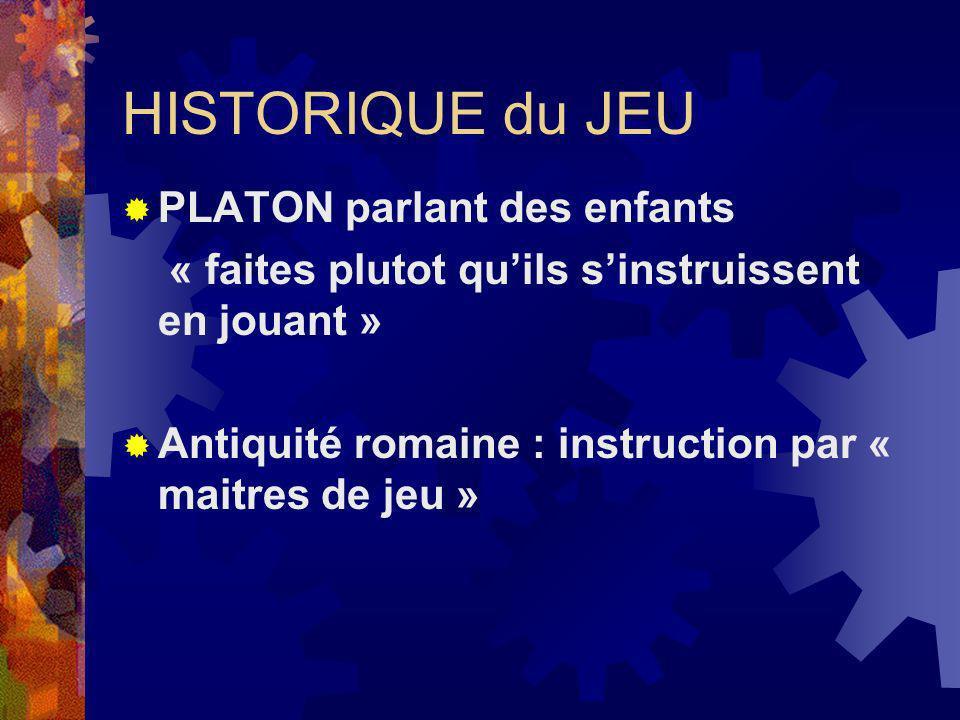 HISTORIQUE du JEU PLATON parlant des enfants