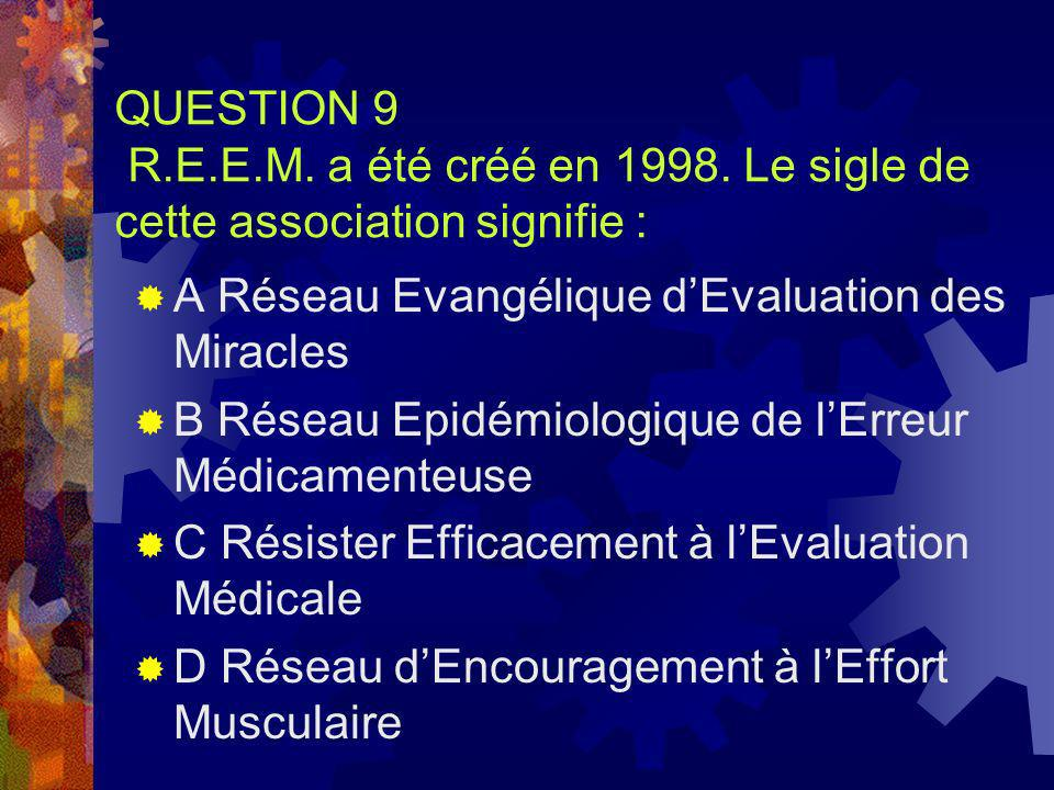 QUESTION 9 R. E. E. M. a été créé en 1998