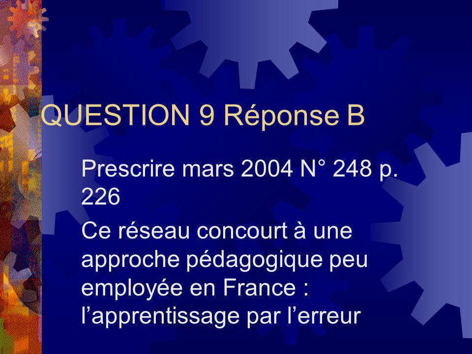 QUESTION 9 Réponse B Prescrire mars 2004 N° 248 p. 226