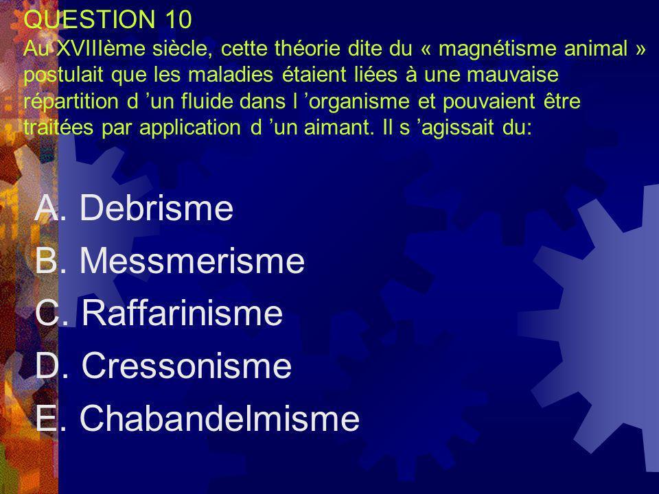 A. Debrisme B. Messmerisme C. Raffarinisme D. Cressonisme