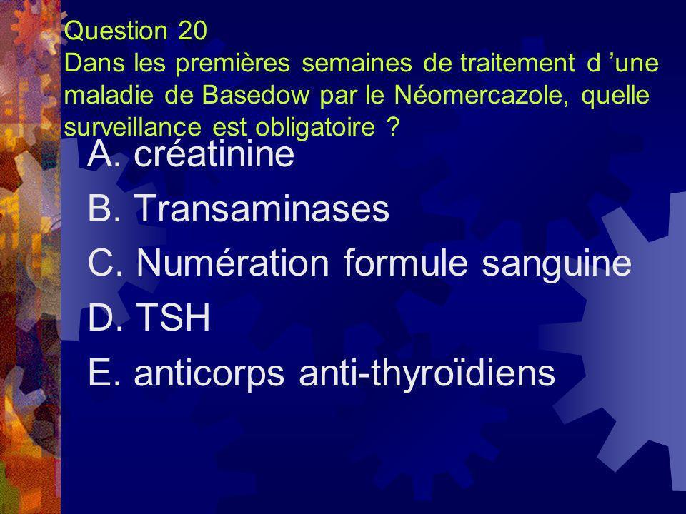 C. Numération formule sanguine D. TSH E. anticorps anti-thyroïdiens